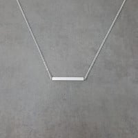 Bar Straight Shiny Silver Necklace