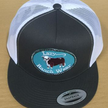 """Lazy J Ranch Wear Grey and White Hereford Logo Cap (4"""")"""