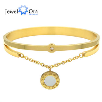 New Fashion Roman Numeral Lucky Lover Bracelet Gold Plated Resin Stones Bracelets & Bangles For Women (JewelOra BA101557)