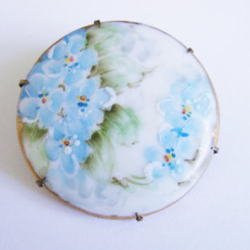 Victorian Blue Hand Painted Floral Porcelain Brooch / Vintage Jewelry / Jewellery