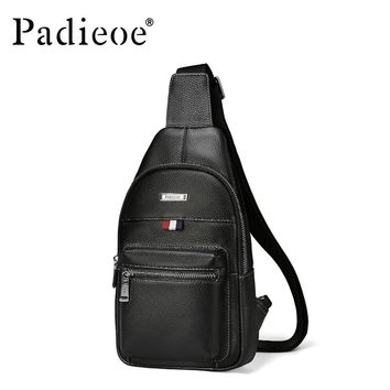 Small Shoulder Bag Genuine Leather Men's Chest Pack High Capacity Male Crossbody Bag for Travel Casual Men Sling Bag