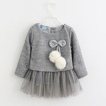 New Autumn Baby Girls Clothes Cotton Cute Bow-knot Solid Baby Girls O-Neck Long Sleeves Bow-knot Dress