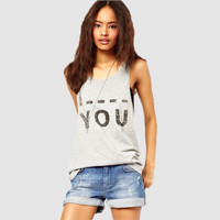 Solid  Letter Printed Sleeveless Loose Tank Top