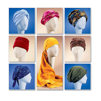 TURBAN CHEMO HATS Headwrap Caps Hat Snood Kerchief Close Fit Headwear Size Sm Med Lrg McCalls 4116 Women's Accessories Sewing Patterns UNCuT