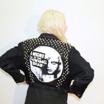 Night of the Living Dead Studded Denim Jacket / Punk Rock Studded Jean Jacket / Zombie / Dark Denim / One of a Kind / Back Patch