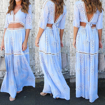 Light Blue Backless Tied Top and Long Casual Skirt