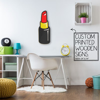 Red Lip Stick Custom Wood Patch Printed Sign Unique Trendy Game Room