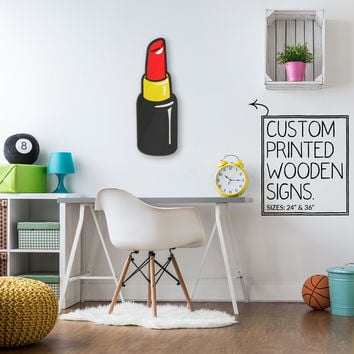 Red Lip Stick Custom Printed Wood Sign Unique Trendy Game Room