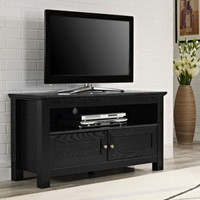 Contemporary Wooden TV Stand Console Stylish Home Furniture Black With Shelves