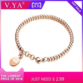Stainless Steel Cat Bracelets Silver Rose Gold Color Ball Beaded Chain Animal 18CM Bracelet for Women Female Jewelry