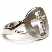 Silver Cross Cut Out Ring