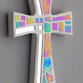 "Mosaic Wall Cross, Small, White with Iridescent Glass+Silver Mirror,  Handmade Stained Glass Mosaic Cross Wall Decor, 6"" x 4"""
