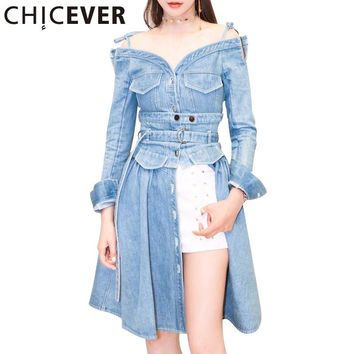 Summer Autumn Women Dress Female Split V Neck Sexy Off Shoulder Denim Long Dresses Clothes Fashion Casual