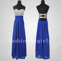 2013 style Glamorous High quality beads Chiffon satin Prom Dress from fashionforgirls