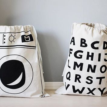 Cute Baby Toys Storage Flax Bags Batman Smile Face Letters Pattern Laundry Bag Pouch, Cute Wall Hanging Storage Blanket Poket