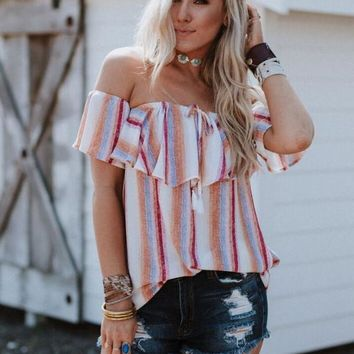 Lucky Stripe Off The Shoulder Tunic Top