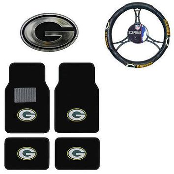 Licensed Official New NFL Green Bay Packers Car Truck Floor Mats Steering Wheel Cover & Emblem