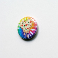 Psychedelic TieDye Heart Pizza Button Pin by magiccircleclothing