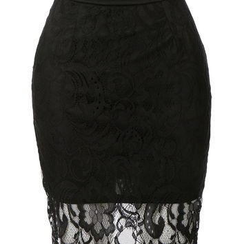 LE3NO Womens High Waisted Floral Lace Pencil Skirt