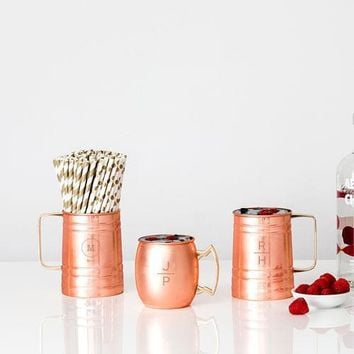 Stacked Monogram Copper Moscow Mule Mug (Pack of 1)