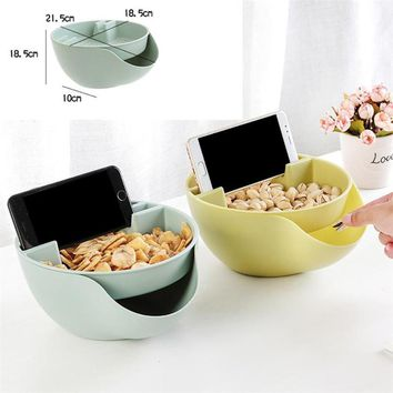 Creative Nut Seeds Storage Bowl Case with Cell Phone Holder Gap Sofa Lazy Fruits Storage Bowl Water Leak Basket Plastic Box sale
