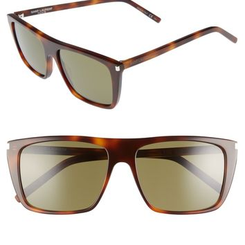 Saint Laurent Avana 56mm Flat Top Sunglasses | Nordstrom