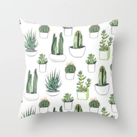 watercolour cacti and succulent Throw Pillow by Vicky Webb | Society6