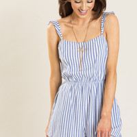 Stacey Blue Stripe Romper