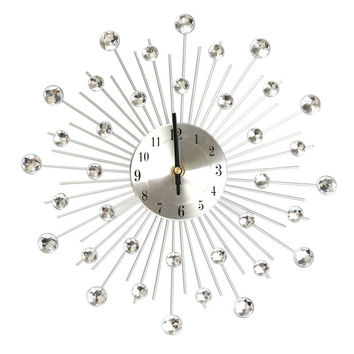 Excellent Quality 32.5cm Novelty Diamond Crystal Jeweled Beaded Sunburst Wall Clock living room Silver Wire free shipping