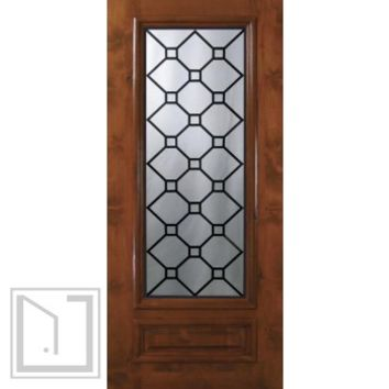 Slab Entry Single Door 80 Wood Alder Casablanca 1 Panel 3/4 Lite