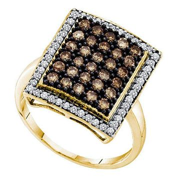 10kt Yellow Gold Women's Round Cognac-brown Color Enhanced Diamond Rectangle Cluster Ring 1.00 Cttw - FREE Shipping (US/CAN)