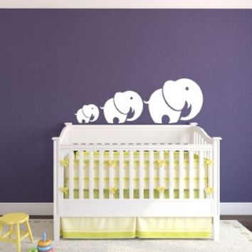 Mom and Baby Elephant Animal Children Kids Baby Room Nursery Wall Vinyl Decals Art Sticker Home Modern Stylish Interior Decor for Any Room Smooth and Flat Surfaces Housewares Murals Design Window Graphic Bedroom (4539)
