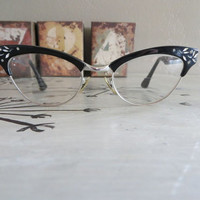 Vintage Cat Eye Glasses Bausch and Lomb Eye Glasses Eye Glass Frames Cat Eye Frames Black Eye Glass Frames Vintage Frames
