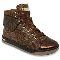 Michael KORS ICONIC URBAN MK LOGO FOLDED DISTRESSED SNAKE HIGH TOP SNEAKERS