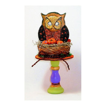 Halloween Folk Art, Owl's Nest, Halloween Art Event Collectable, Vintage Inspired, HAB, Primitive Halloween Assemblage, One of a Kind