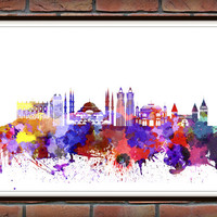 Istanbul, Turkey Skyline Print, Watercolor Art, Istanbul Art, City Poster, City Skyline, Wall Art Cityscape, Home Decor *17*