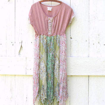 Upcycled Dress Womens Med pastel pixie dress Babydoll rose mint paisley , bohemian recycled repurposed eco friendly clothing by wearlovenow