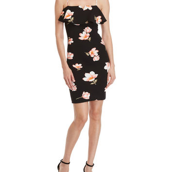 Black Floral Bodycon Dress