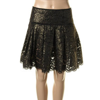DKNY Womens Metallic Lace Overlay Flare Skirt