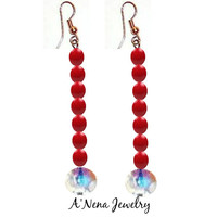 "Earrings: Genuine Cherry Red Coral, Genuine Swarovski Elements Set On Copper ""Shimmering Ocean Princess""  by ANena Jewelry"