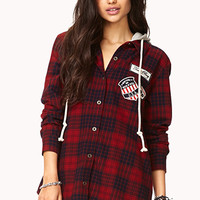 Grunge Hooded Plaid Flannel