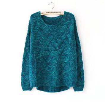 Winter Vintage Needles Twisted Round-neck Long Sleeve Pullover Sweater [8216430849]