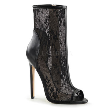 """Sexy 1008 Black 5"""" Stiletto Heel Lace Panel  Open Toe Ankle Boot 5-14"""