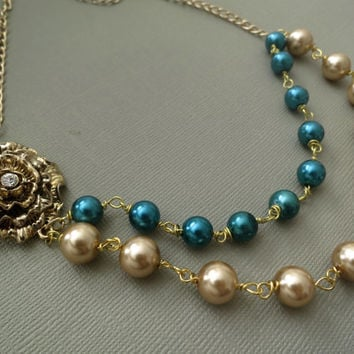 Gold Flower Necklace, Teal Champagne Pearl Necklace, Bridesmaid Bib Necklace, Vintage Style Necklace, Wedding Jewellery