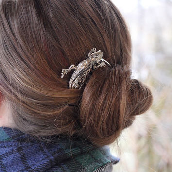 Large Silver lizard Hair Comb - Single Silver Colored lizard - lizard Hair Accessories