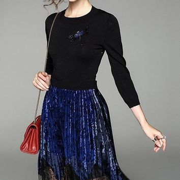 Dragonfly Velvet and Lace Dress