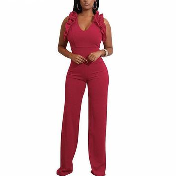 Women V Neck Sleeveless Ruffles Jumpsuit Wide Leg Pants