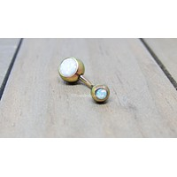 White opal belly ring 14g rose gold titanium anodized internally threaded navel ring VCH bar body jewelry
