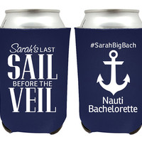 Cruise Bachelorette Koozies, Last Sail Before the Veil Koozies, Bachelorette Coolies for Bachelorette Party