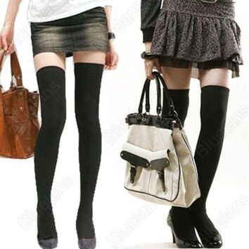 CREYUG3 Over The Knee Cotton Socks Thigh High Cotton Stockings = 1930065284